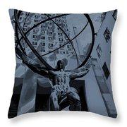 Atlas Rockefeller Center Poster Throw Pillow