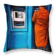 Atm Monk Throw Pillow