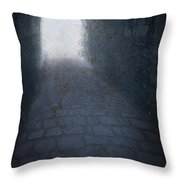 Atmospheric Creepy Arched Tunnel With Cobbled Floor Throw Pillow