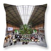 Atocha Railway Station Interior In Madrid Throw Pillow