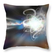 Atom Collision Throw Pillow by Mike Agliolo