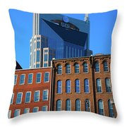 At&t Building And Historic Red Brick Throw Pillow