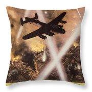 Attack Begins In Factory Propaganda Poster From World War II Throw Pillow