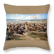 Attack Of The Horse Regiment Throw Pillow by Victor Mazurovsky