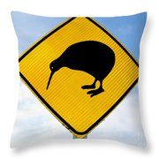 Attention Kiwi Crossing Road Sign Throw Pillow