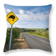Attention Kiwi Crossing Roadsign At Nz Rural Road Throw Pillow