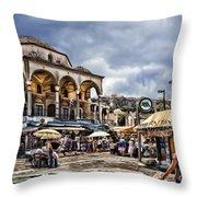 Attiki Metro Station Athens Throw Pillow