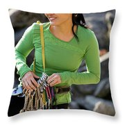 Attractive Female Climber Adjusting Throw Pillow