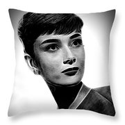 Audrey Hepburn - Black And White Throw Pillow