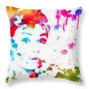 Audrey Hepburn Paint Splatter Throw Pillow