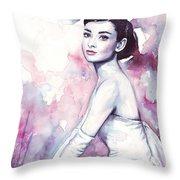 Audrey Hepburn Portrait Throw Pillow