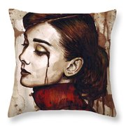 Audrey Hepburn - Quiet Sadness Throw Pillow by Olga Shvartsur