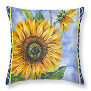 Audrey's Sunflower With Boarder Throw Pillow