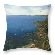 August Afternoon At Whitsand Bay Cornwall Throw Pillow