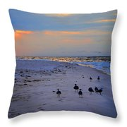 August Beach Morning With The Sea Gulls Throw Pillow