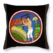 August - Threshing Wheat Throw Pillow