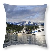 Auke Bay Harbor Throw Pillow