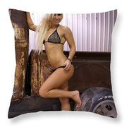 Auriel Rusty Rat Rod 1 Throw Pillow