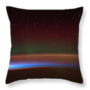 Aurora Australis, Iss Image, 2014 Throw Pillow