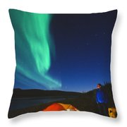 Aurora Borealis Above A Tent And Camper Throw Pillow