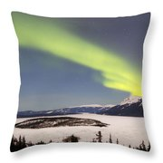 Aurora Borealis Over Bove Island Throw Pillow