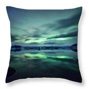 Aurora Borealis Over Lake Throw Pillow