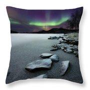 Aurora Borealis Over Sandvannet Lake Throw Pillow