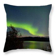 Aurora Borealis Reflected On Lake Laberge Yukon Throw Pillow