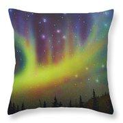Aurora Borealis Yellow Streak Throw Pillow