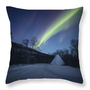 Aurora On A Blue Night Sky Throw Pillow