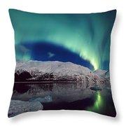 Aurora Over Portage Throw Pillow