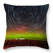 Aurora Startrail  Throw Pillow