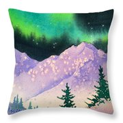 Aurora Winter In Square Throw Pillow