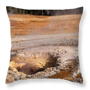 Aurum Geyser In Upper Geyser Basin In Yellowstone National Park Throw Pillow