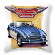 Austin Healey 3000 Blue-white Throw Pillow