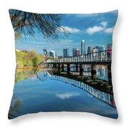 Austin Skyline And Lady Bird Lake - Throw Pillow