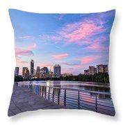 Austin Skyline At Sunset Throw Pillow