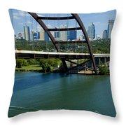 Austin Texas 360 Bridge Vert Throw Pillow