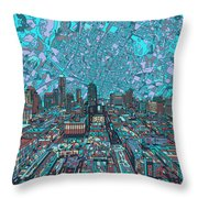 Austin Texas Vintage Panorama 4 Throw Pillow