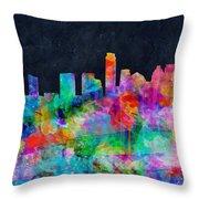 Austin Watercolor Panorama Throw Pillow