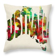 Australia Typographic Watercolor Map Throw Pillow
