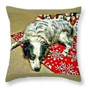 Australian Shepherd Happy Holidays Throw Pillow