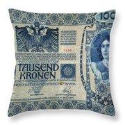 Austria Banknote, 1902 Throw Pillow