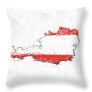 Austria Painted Flag Map Throw Pillow