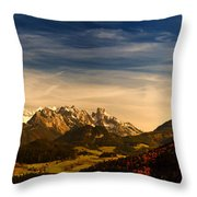 Austrian Autumn Scenic Panorama Throw Pillow