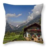 Austrian Cottage Throw Pillow by Debra and Dave Vanderlaan