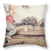 Authentic Faded Brown Vintage Skater Child Throw Pillow