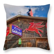 Auto Repair At The City Garage Throw Pillow