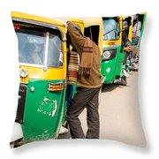 Autorickshaw Row Throw Pillow