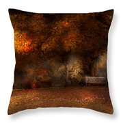 Autumn - A Park Bench Throw Pillow by Mike Savad